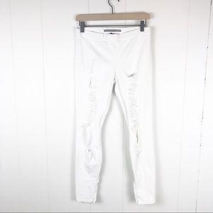 Joe's Jeans white denim legging ripped ankle zip M